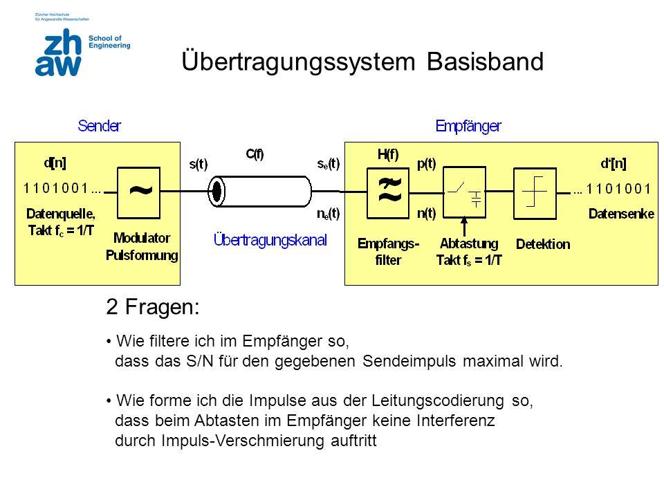 Übertragungssystem Basisband 2 Fragen: Wie filtere ich im Empfänger so, dass das S/N für den gegebenen Sendeimpuls maximal wird. Wie forme ich die Imp