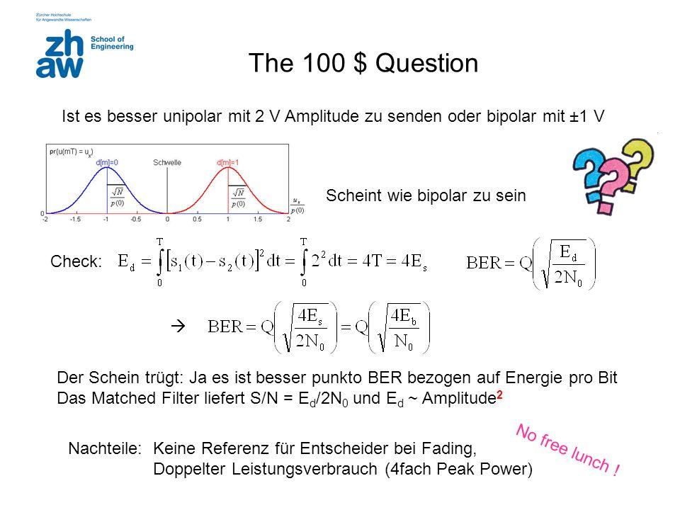 The 100 $ Question Ist es besser unipolar mit 2 V Amplitude zu senden oder bipolar mit ±1 V  Scheint wie bipolar zu sein Der Schein trügt: Ja es ist
