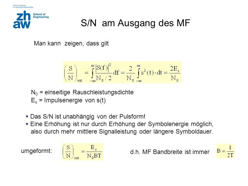 S/N am Ausgang des MF  Das S/N ist unabhängig von der Pulsform!  Eine Erhöhung ist nur durch Erhöhung der Symbolenergie möglich, also durch mehr mit