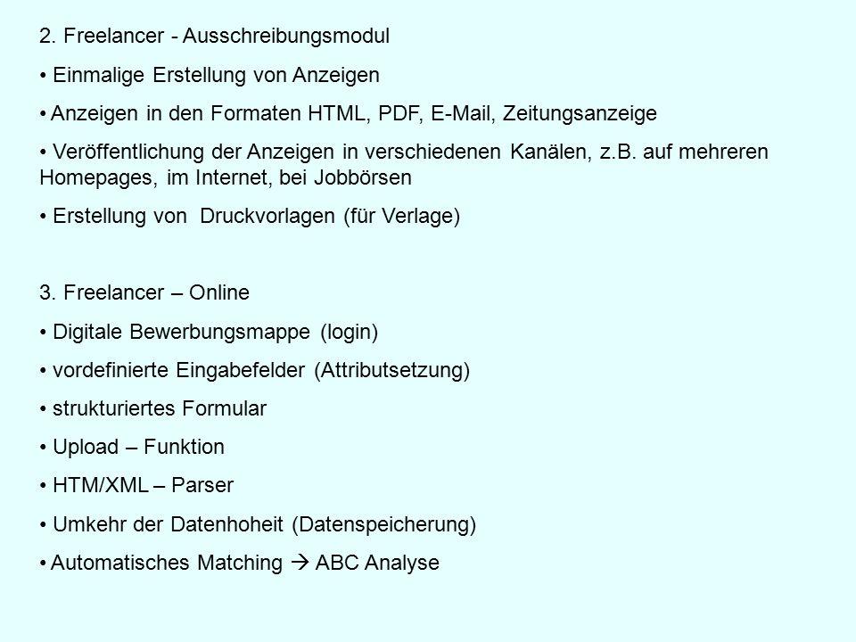2. Freelancer - Ausschreibungsmodul Einmalige Erstellung von Anzeigen Anzeigen in den Formaten HTML, PDF, E-Mail, Zeitungsanzeige Veröffentlichung der