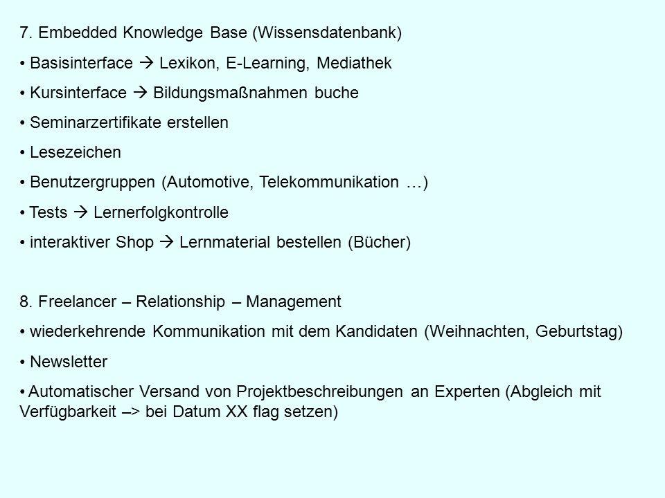 7. Embedded Knowledge Base (Wissensdatenbank) Basisinterface  Lexikon, E-Learning, Mediathek Kursinterface  Bildungsmaßnahmen buche Seminarzertifika