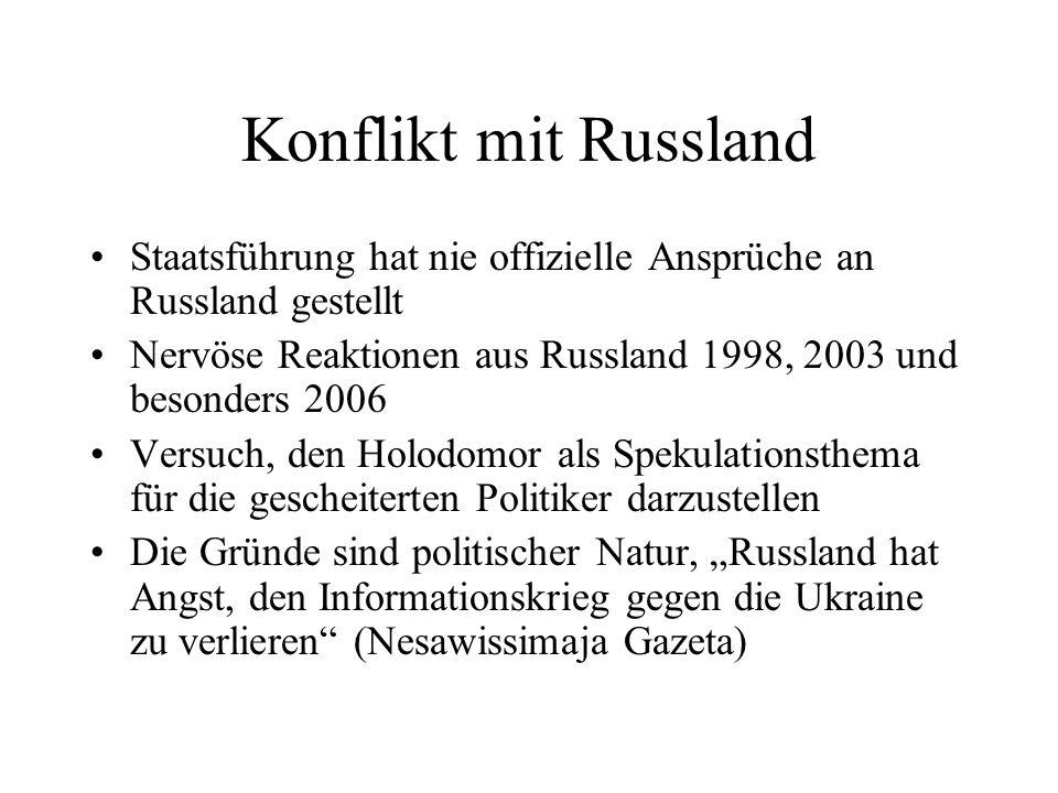 Konflikt mit Russland Staatsführung hat nie offizielle Ansprüche an Russland gestellt Nervöse Reaktionen aus Russland 1998, 2003 und besonders 2006 Ve