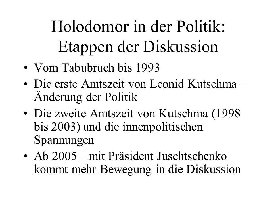 Holodomor in der Politik: Etappen der Diskussion Vom Tabubruch bis 1993 Die erste Amtszeit von Leonid Kutschma – Änderung der Politik Die zweite Amtsz