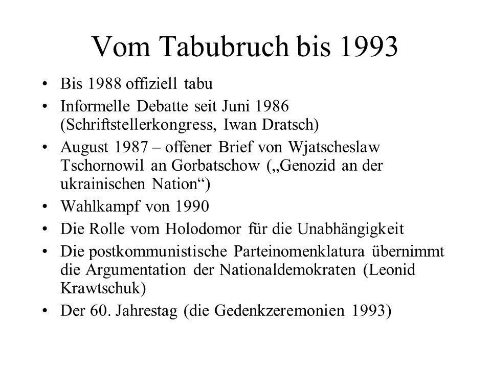 Vom Tabubruch bis 1993 Bis 1988 offiziell tabu Informelle Debatte seit Juni 1986 (Schriftstellerkongress, Iwan Dratsch) August 1987 – offener Brief vo
