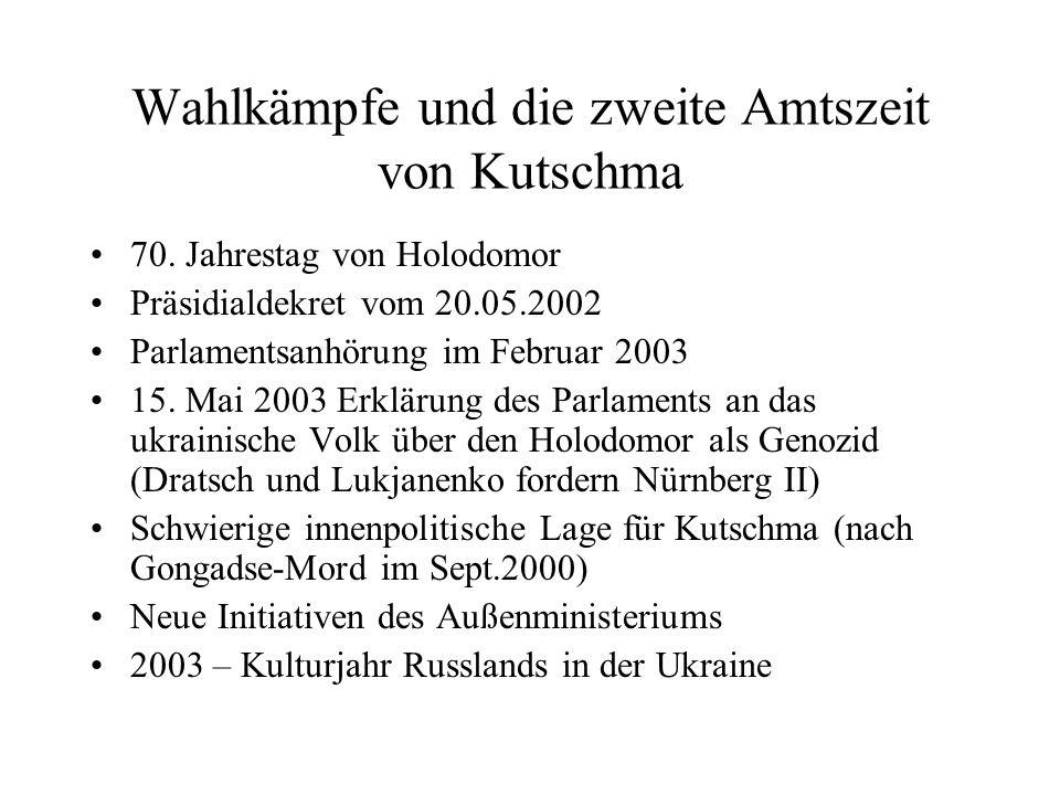Wahlkämpfe und die zweite Amtszeit von Kutschma 70. Jahrestag von Holodomor Präsidialdekret vom 20.05.2002 Parlamentsanhörung im Februar 2003 15. Mai