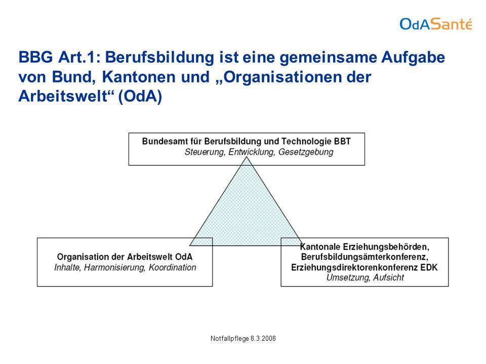 """Notfallpflege 8.3.2008 BBG Art.1: Berufsbildung ist eine gemeinsame Aufgabe von Bund, Kantonen und """"Organisationen der Arbeitswelt (OdA)"""