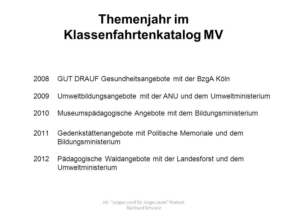 Information zu Klassenfahrten AG Junges Land für Junge Leute Rostock Reinhard Schwarz WO.