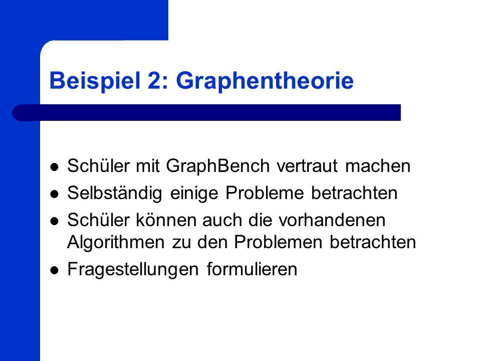 Beispiel 2: Graphentheorie Schüler mit GraphBench vertraut machen Selbständig einige Probleme betrachten Schüler können auch die vorhandenen Algorithm