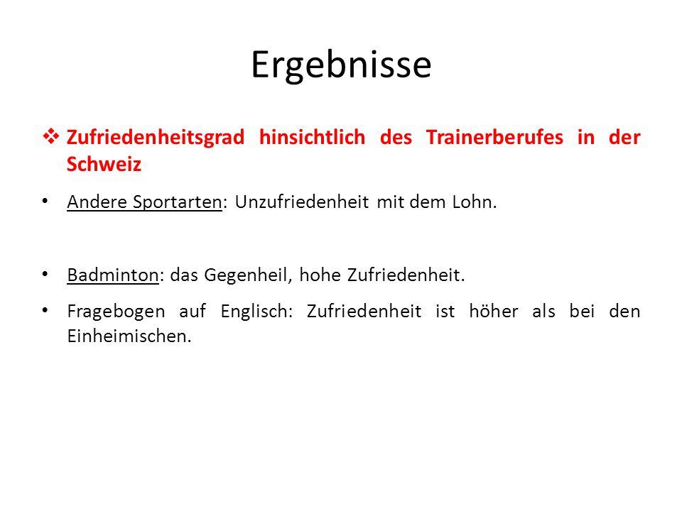 Ergebnisse  Zufriedenheitsgrad hinsichtlich des Trainerberufes in der Schweiz Andere Sportarten: Unzufriedenheit mit dem Lohn.
