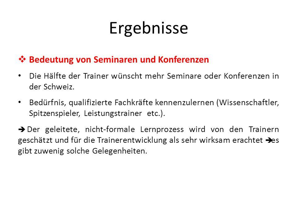 Ergebnisse  Bedeutung von Seminaren und Konferenzen Die Hälfte der Trainer wünscht mehr Seminare oder Konferenzen in der Schweiz.
