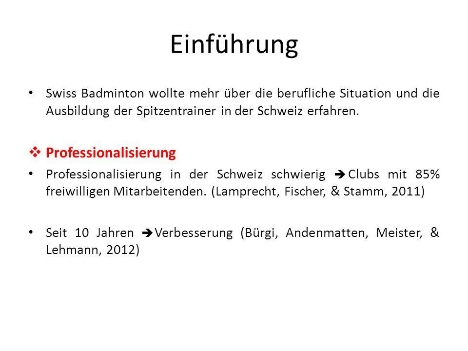 Einführung Swiss Badminton wollte mehr über die berufliche Situation und die Ausbildung der Spitzentrainer in der Schweiz erfahren.