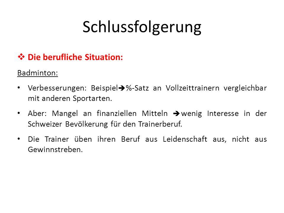 Schlussfolgerung  Die berufliche Situation: Badminton: Verbesserungen: Beispiel  %-Satz an Vollzeittrainern vergleichbar mit anderen Sportarten.