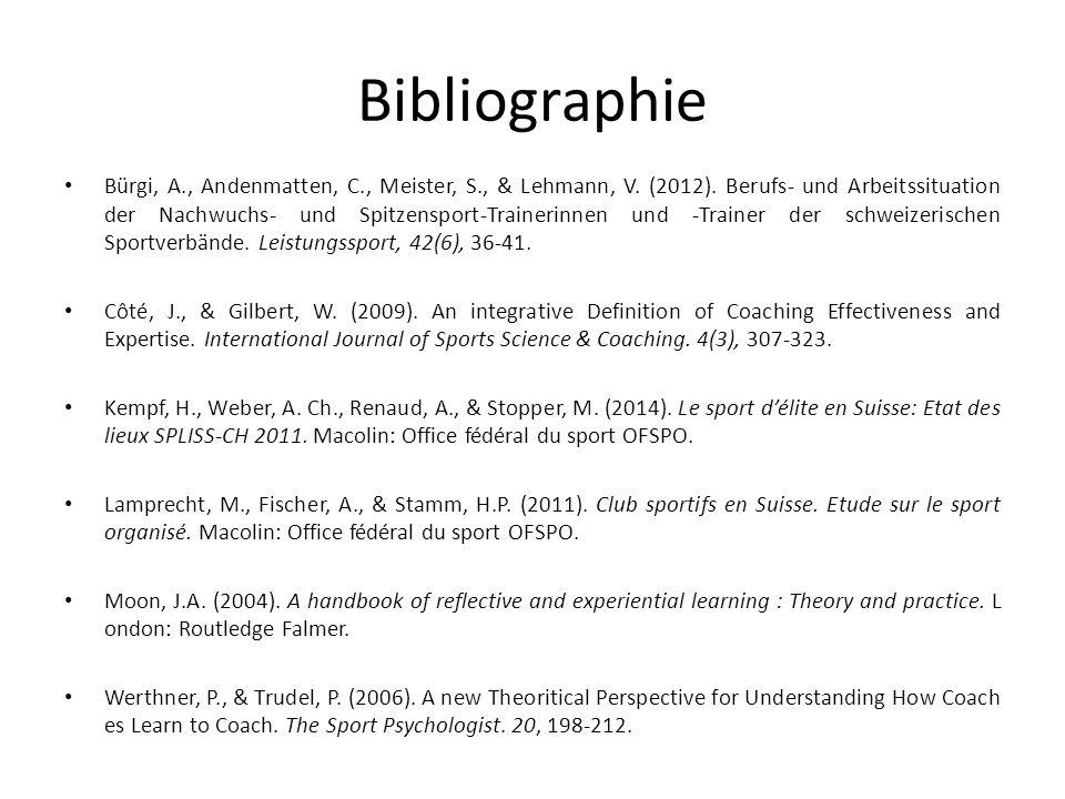 Bibliographie Bürgi, A., Andenmatten, C., Meister, S., & Lehmann, V.