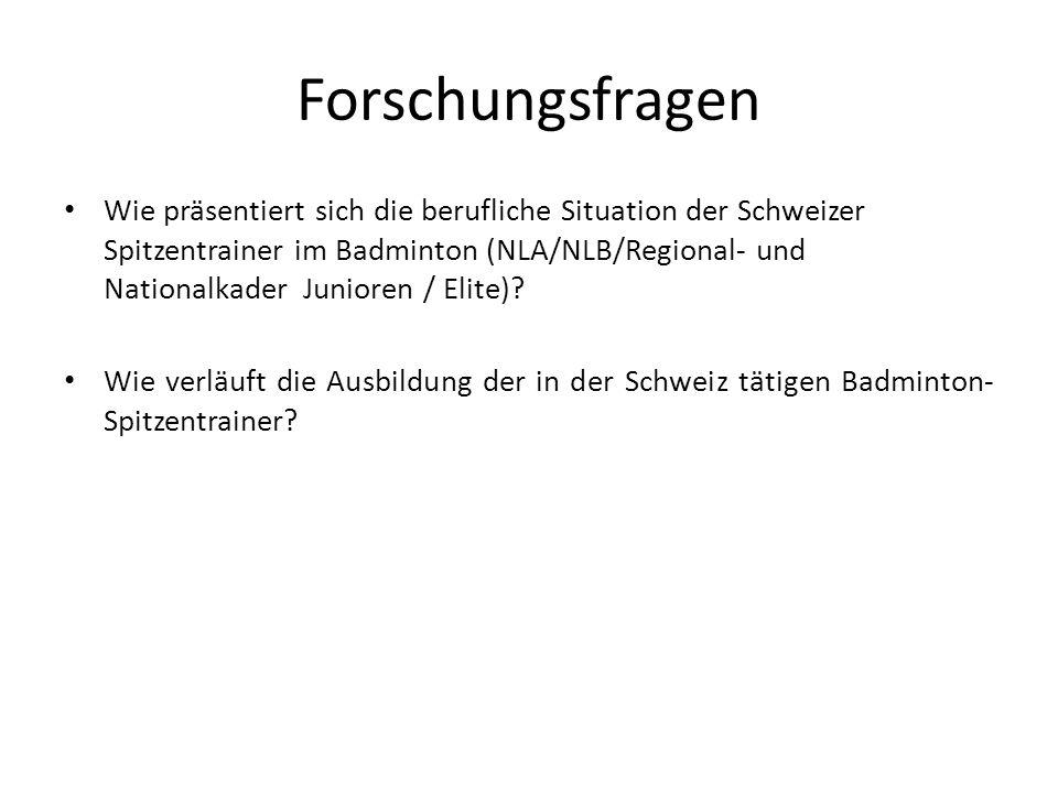 Forschungsfragen Wie präsentiert sich die berufliche Situation der Schweizer Spitzentrainer im Badminton (NLA/NLB/Regional- und Nationalkader Junioren / Elite).