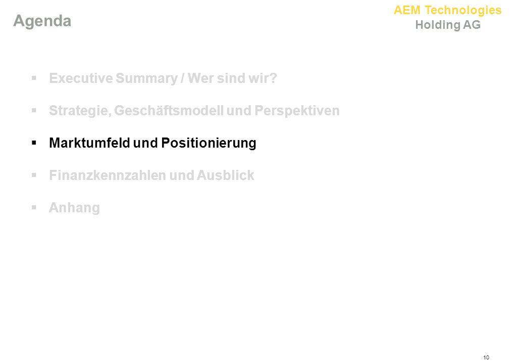AEM Technologies Holding AG 10 Agenda  Executive Summary / Wer sind wir?  Strategie, Geschäftsmodell und Perspektiven  Marktumfeld und Positionieru
