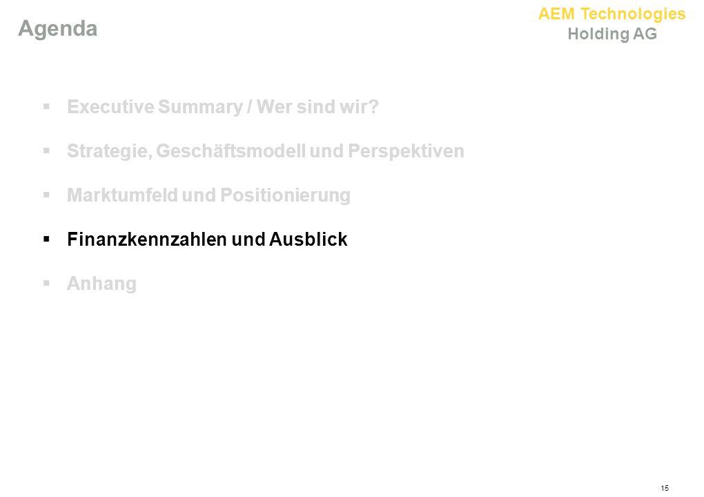 AEM Technologies Holding AG 15 Agenda  Executive Summary / Wer sind wir?  Strategie, Geschäftsmodell und Perspektiven  Marktumfeld und Positionieru