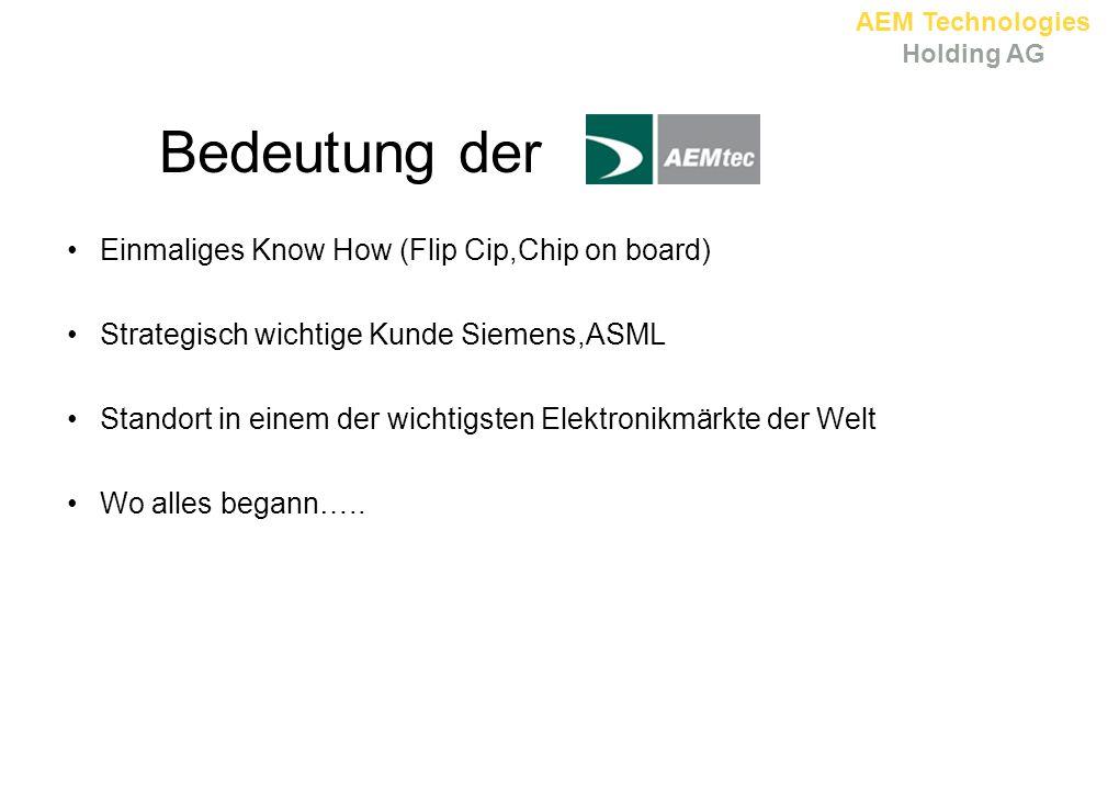 AEM Technologies Holding AG Bedeutung der Einmaliges Know How (Flip Cip,Chip on board) Strategisch wichtige Kunde Siemens,ASML Standort in einem der wichtigsten Elektronikmärkte der Welt Wo alles begann…..