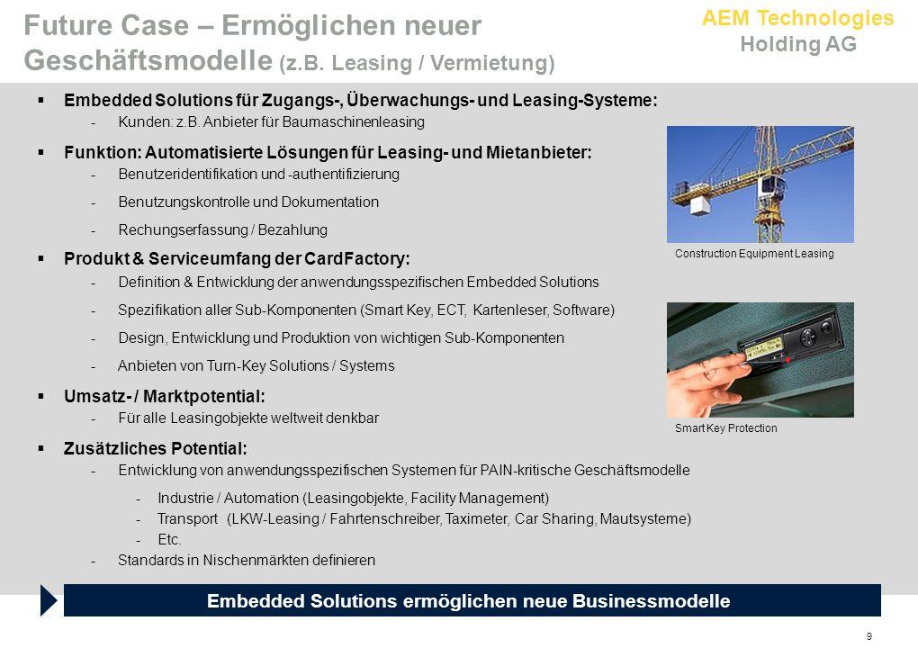 AEM Technologies Holding AG 9  Embedded Solutions für Zugangs-, Überwachungs- und Leasing-Systeme: -Kunden: z.B. Anbieter für Baumaschinenleasing  F
