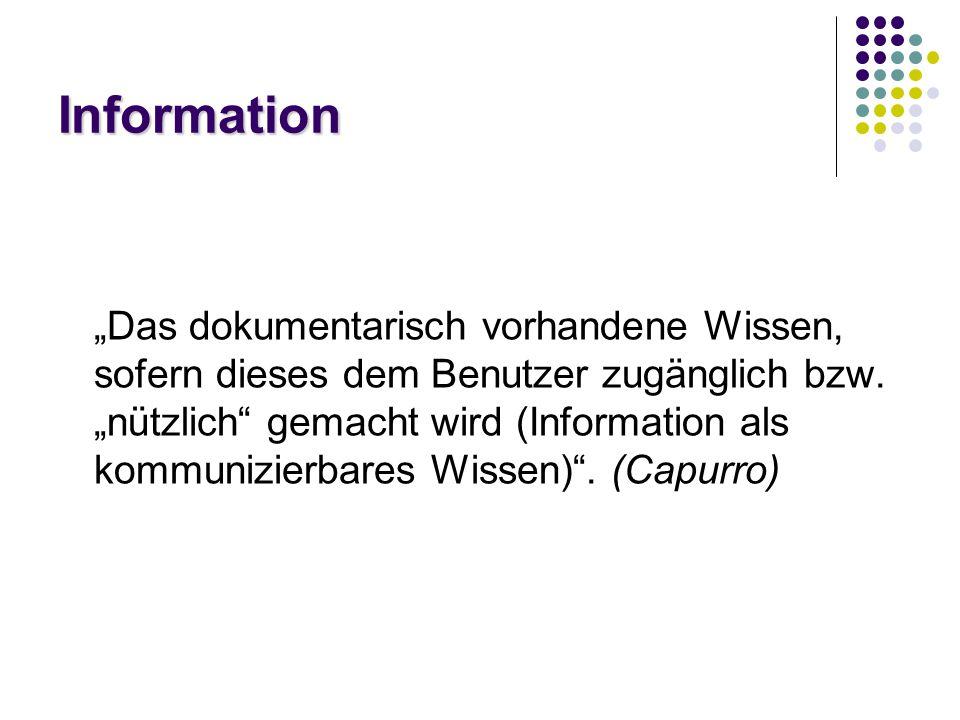 """Information """"Das dokumentarisch vorhandene Wissen, sofern dieses dem Benutzer zugänglich bzw."""