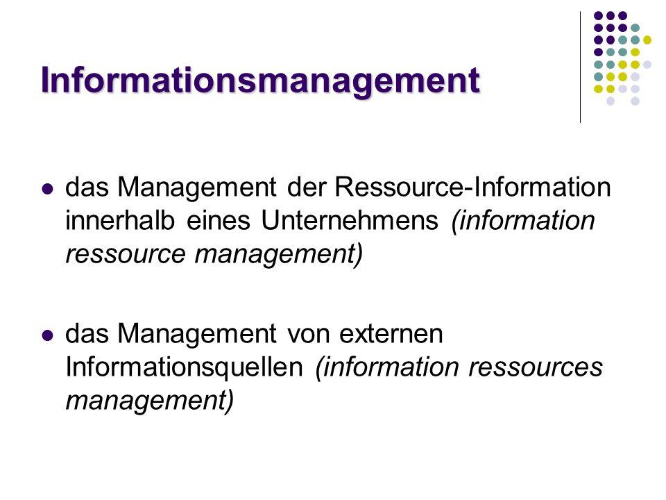 Informationsmanagement das Management der Ressource-Information innerhalb eines Unternehmens (information ressource management) das Management von externen Informationsquellen (information ressources management)