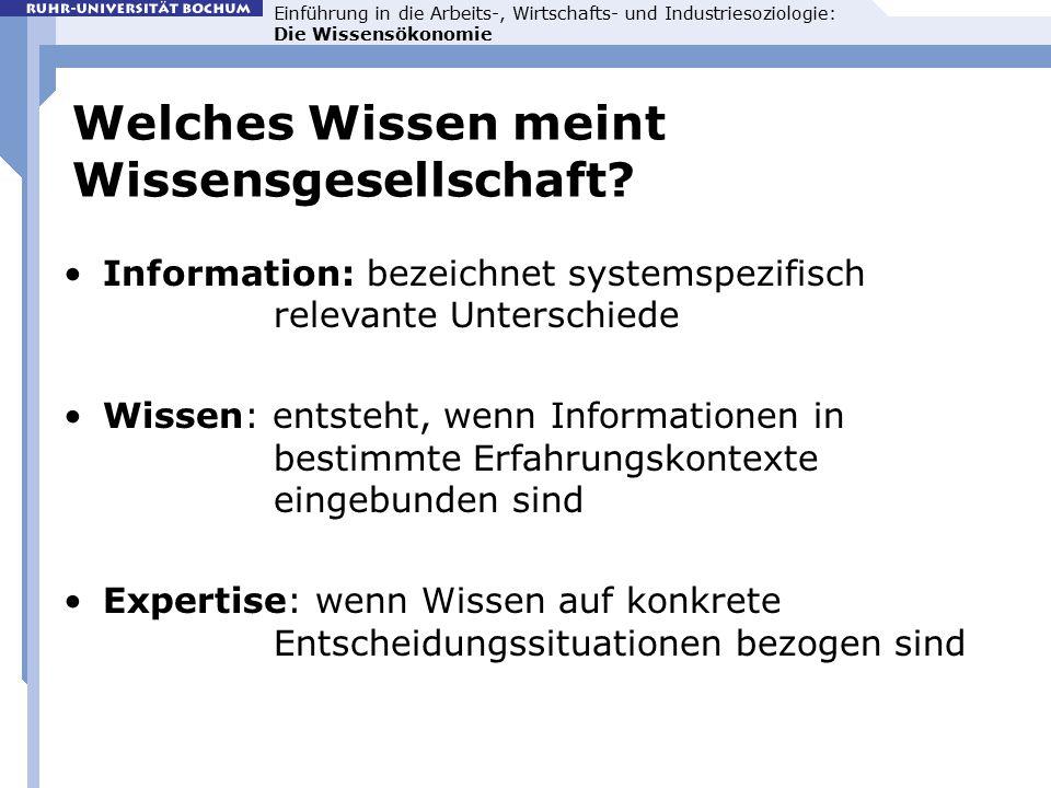 Einführung in die Arbeits-, Wirtschafts- und Industriesoziologie: Die Wissensökonomie Welches Wissen meint Wissensgesellschaft.