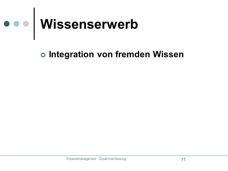 Wissensmanagement - Zusammenfassung 11 Wissenserwerb Integration von fremden Wissen