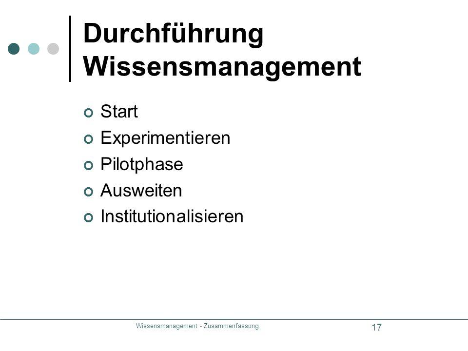 Wissensmanagement - Zusammenfassung 17 Durchführung Wissensmanagement Start Experimentieren Pilotphase Ausweiten Institutionalisieren