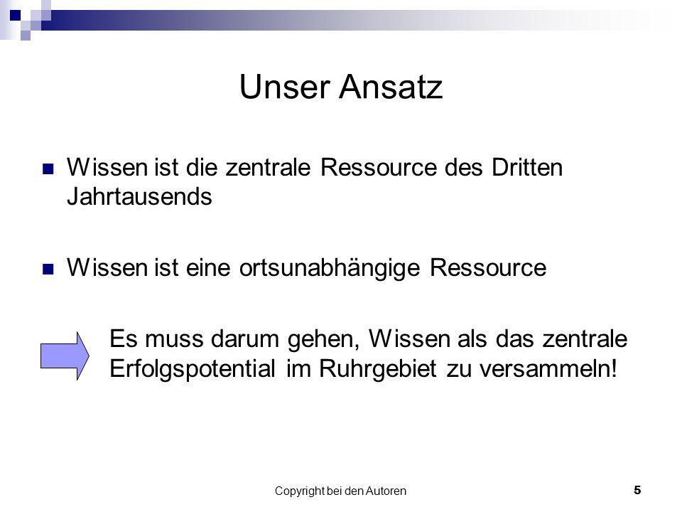 Copyright bei den Autoren6 Möglichkeit der Realisierung Einmalige Chancen durch das Ruhrgebiet als Kulturhauptstadt 2010.