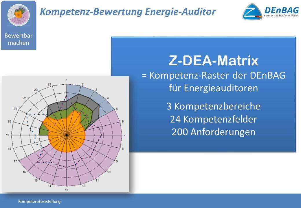 Z-DEA-Matrix = Kompetenz-Raster der DEnBAG für Energieauditoren 3 Kompetenzbereiche 24 Kompetenzfelder 200 Anforderungen Z-DEA-Matrix = Kompetenz-Rast