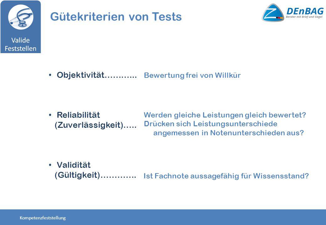 Objektivität………... Reliabilität (Zuverlässigkeit)….. Validität (Gültigkeit)…………. Gütekriterien von Tests Ist Fachnote aussagefähig für Wissensstand? W
