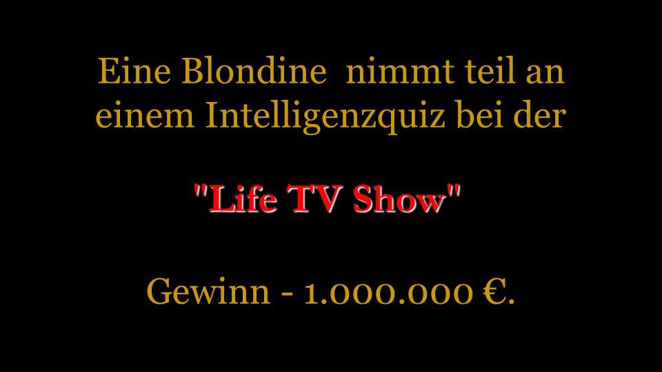 Eine Blondine nimmt teil an einem Intelligenzquiz bei der Gewinn - 1.000.000 €. Life TV Show