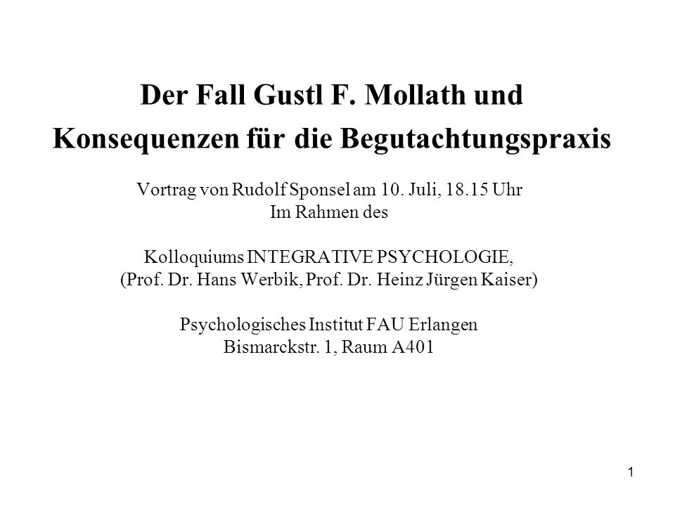 1 Der Fall Gustl F.