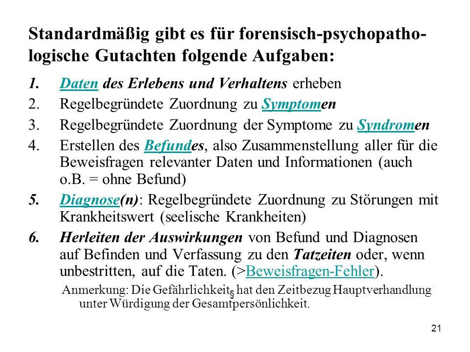 21 Standardmäßig gibt es für forensisch-psychopatho- logische Gutachten folgende Aufgaben: 1.Daten des Erlebens und Verhaltens erhebenDaten 2.Regelbegründete Zuordnung zu SymptomenSymptom 3.Regelbegründete Zuordnung der Symptome zu SyndromenSyndrom 4.Erstellen des Befundes, also Zusammenstellung aller für die Beweisfragen relevanter Daten und Informationen (auch o.B.