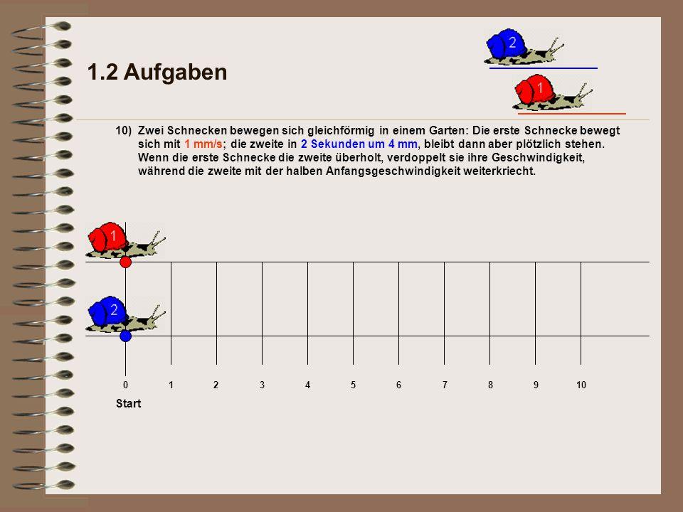 1.2 Aufgaben Zwei Schnecken bewegen sich gleichförmig in einem Garten: Die erste Schnecke bewegt sich mit 1 mm/s; die zweite in 2 Sekunden um 4 mm, bleibt dann aber plötzlich stehen.