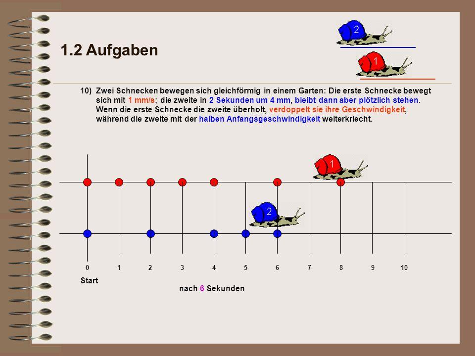 1.2 Aufgaben 10) nach 6 Sekunden Start 012345678910 Zwei Schnecken bewegen sich gleichförmig in einem Garten: Die erste Schnecke bewegt sich mit 1 mm/s; die zweite in 2 Sekunden um 4 mm, bleibt dann aber plötzlich stehen.