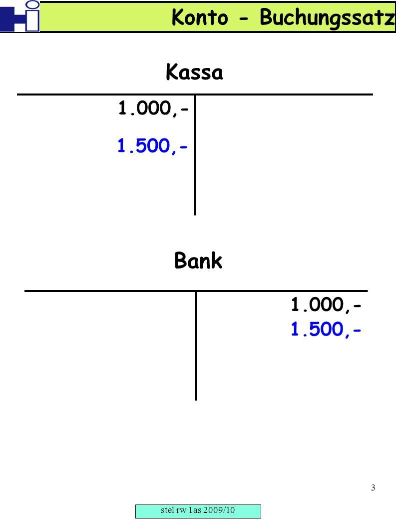 1.000,- Kassa 1.000,- Bank 1.500,- Konto - Buchungssatz stel rw 1as 2009/10 3