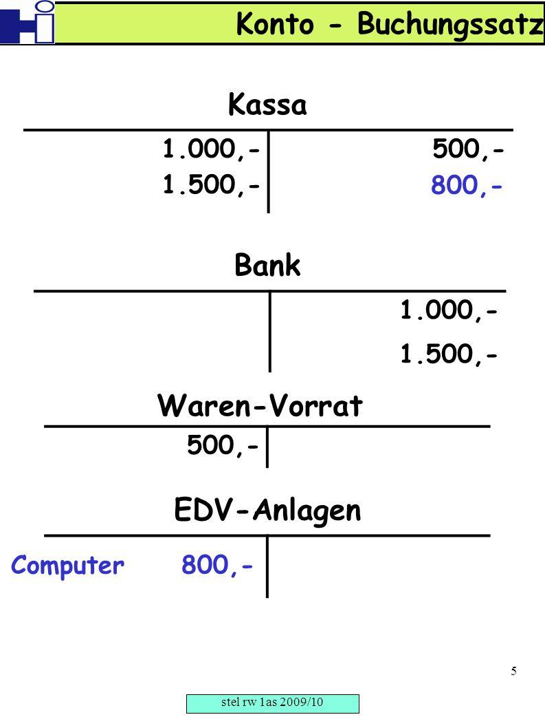 1.000,- 1.500,- 500,- Kassa 1.000,- 1.500,- Bank 500,- Waren-Vorrat EDV-Anlagen 800,- Computer 800,- Konto - Buchungssatz stel rw 1as 2009/10 5