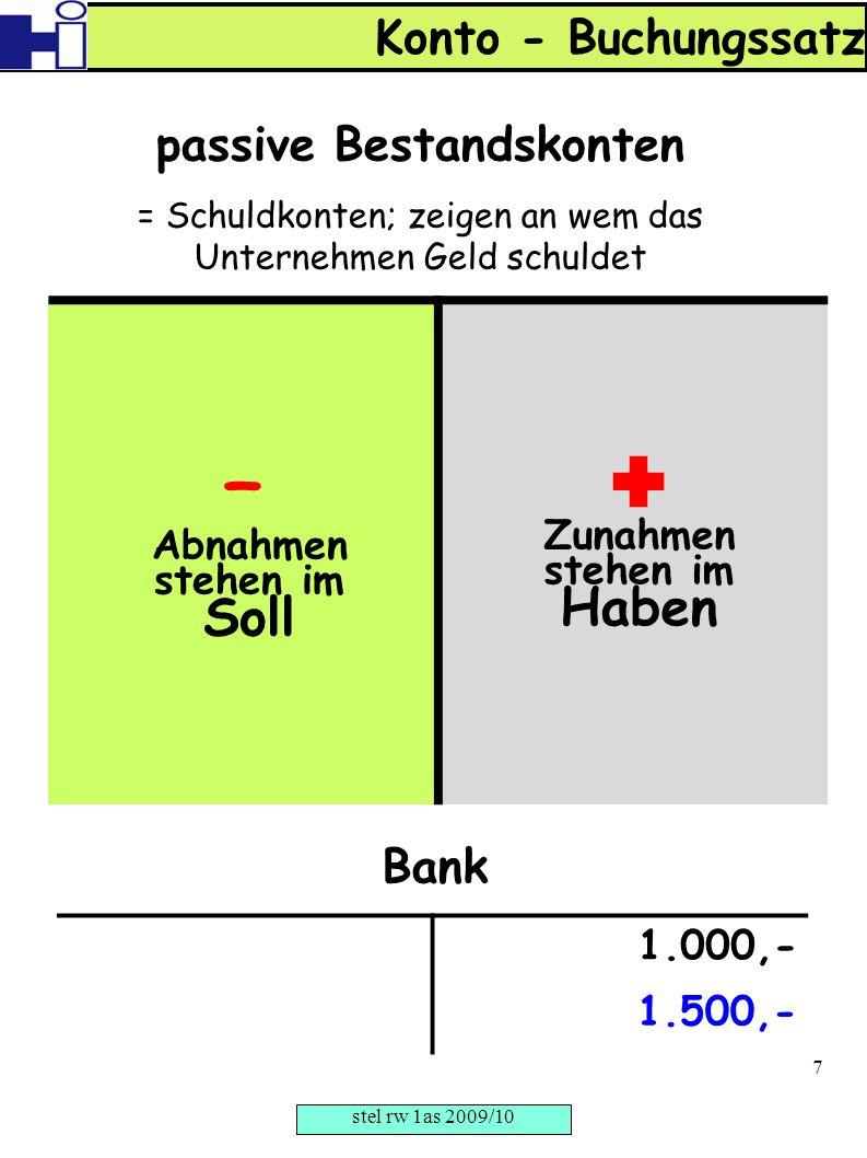 – Abnahmen stehen im Soll  Zunahmen stehen im Haben passive Bestandskonten = Schuldkonten; zeigen an wem das Unternehmen Geld schuldet Konto - Buchun