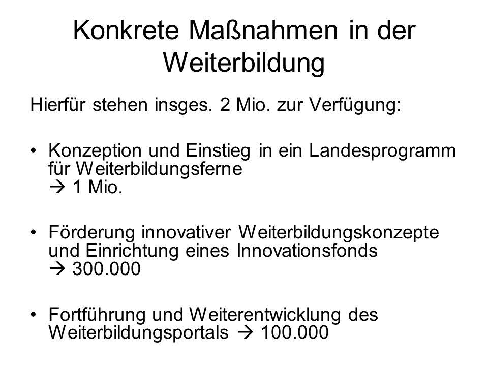 Konkrete Maßnahmen in der Weiterbildung Hierfür stehen insges. 2 Mio. zur Verfügung: Konzeption und Einstieg in ein Landesprogramm für Weiterbildungsf