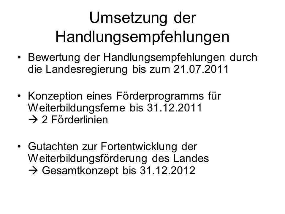 Umsetzung der Handlungsempfehlungen Bewertung der Handlungsempfehlungen durch die Landesregierung bis zum 21.07.2011 Konzeption eines Förderprogramms