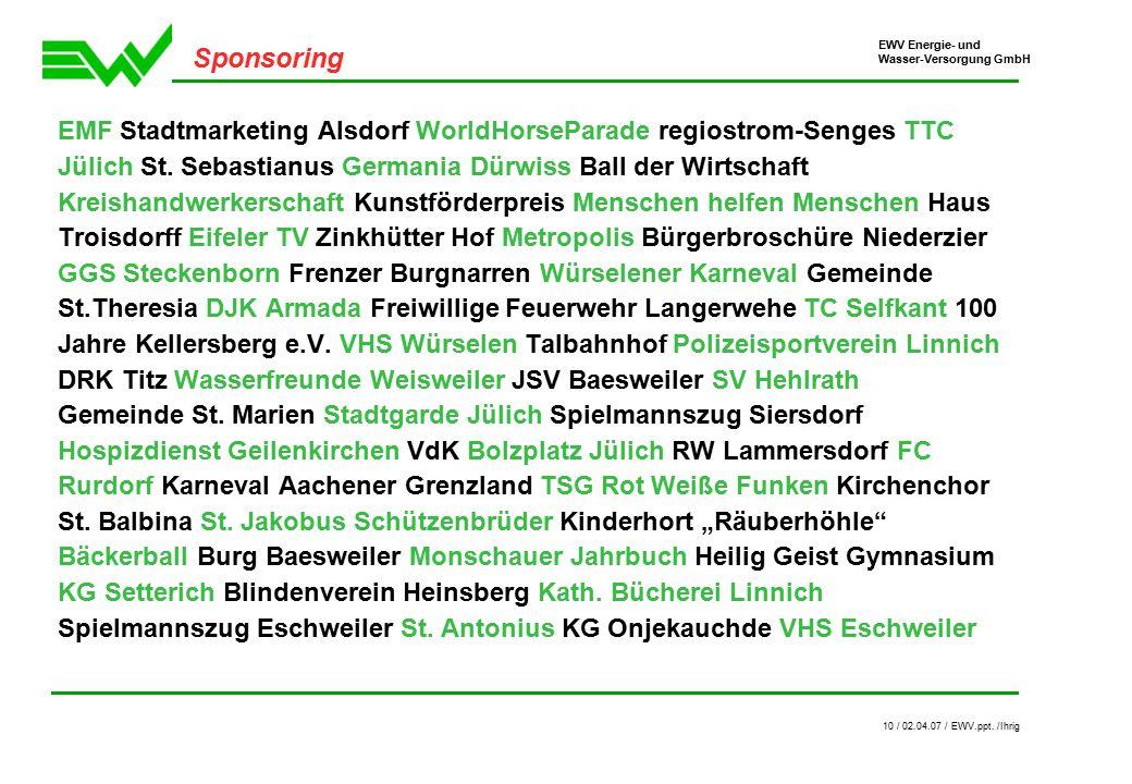 EWV Energie- und Wasser-Versorgung GmbH 10 / 02.04.07 / EWV.ppt.