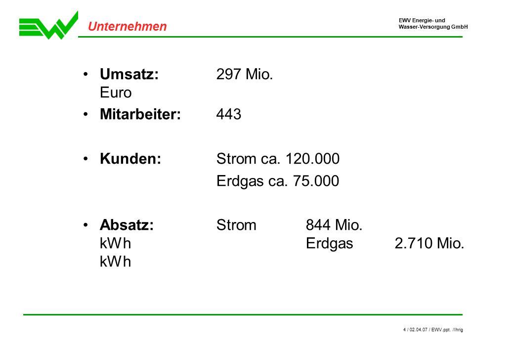 EWV Energie- und Wasser-Versorgung GmbH 4 / 02.04.07 / EWV.ppt.