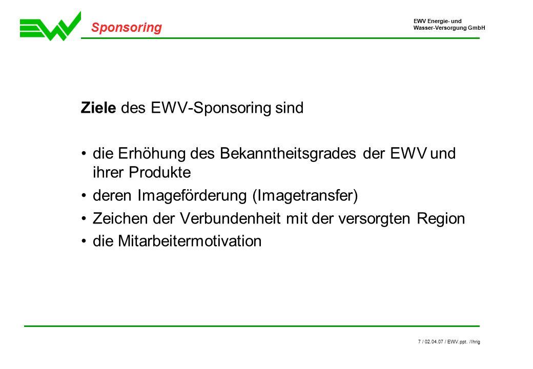 EWV Energie- und Wasser-Versorgung GmbH 8 / 02.04.07 / EWV.ppt.
