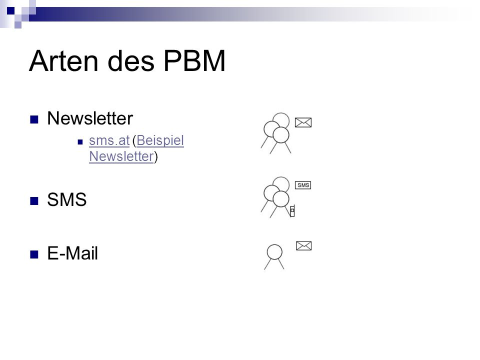Arten des PBM Newsletter sms.at (Beispiel Newsletter) sms.atBeispiel Newsletter SMS E-Mail