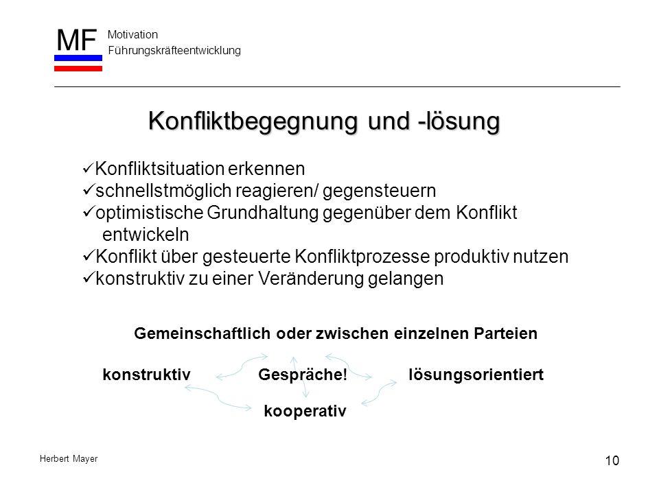 Motivation Führungskräfteentwicklung MF Herbert Mayer Konfliktbegegnung und -lösung Konfliktsituation erkennen schnellstmöglich reagieren/ gegensteuer