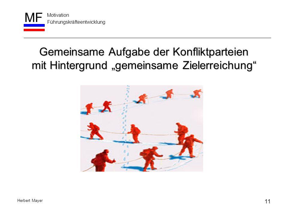 """Motivation Führungskräfteentwicklung MF Herbert Mayer Gemeinsame Aufgabe der Konfliktparteien mit Hintergrund """"gemeinsame Zielerreichung"""" 11"""