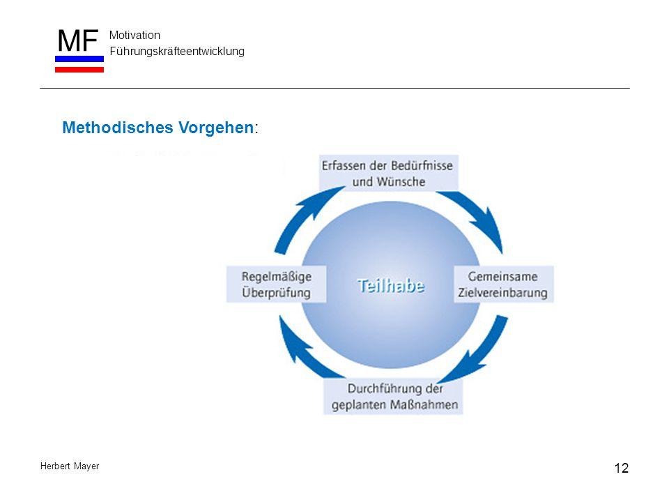 Motivation Führungskräfteentwicklung MF Herbert Mayer 12 Methodisches Vorgehen: