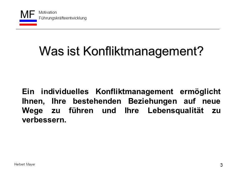 Motivation Führungskräfteentwicklung MF Herbert Mayer Das Zusammenspiel von Grundposition, Konfliktstil und Situation Ich bin (Wir sind) O.K.