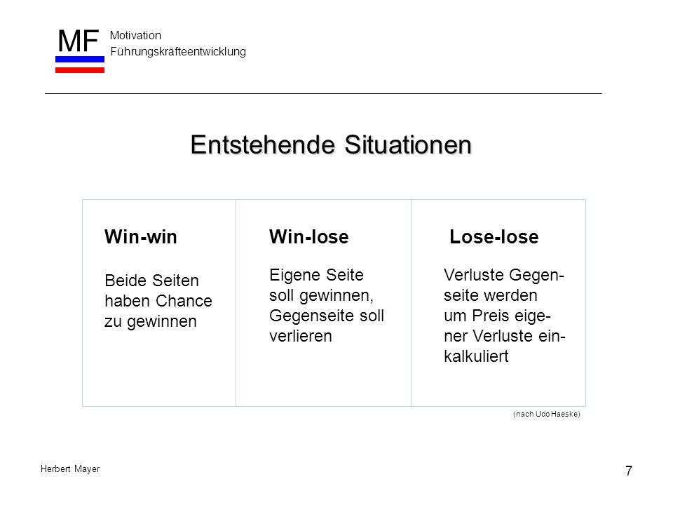 Motivation Führungskräfteentwicklung MF Herbert Mayer Entstehende Situationen Lose-loseWin-win Beide Seiten haben Chance zu gewinnen Win-lose Eigene S