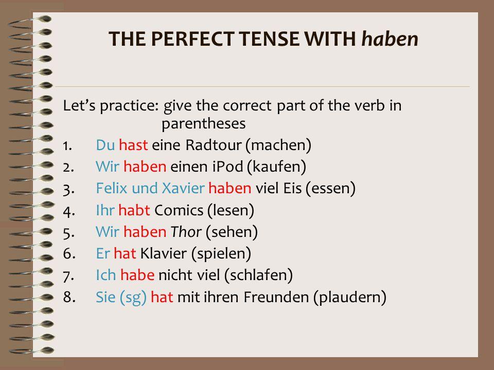 Here are the past participles of some useful irregular verbs: sehen  gesehenlesen  gelesen schlafen  geschlafen essen  gegessen There's no other w